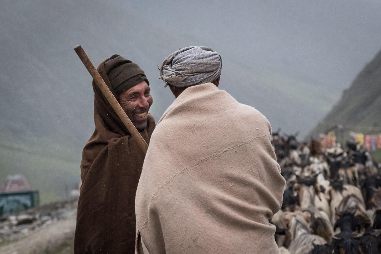 two shepherds meeting on srinagar leh highway