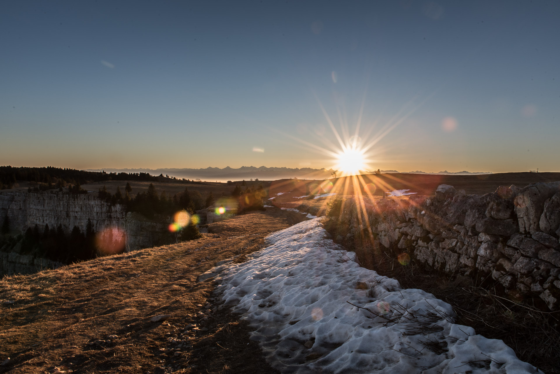 A new year has just begun: Sunrise at Creux du Van (January 1st 2017)
