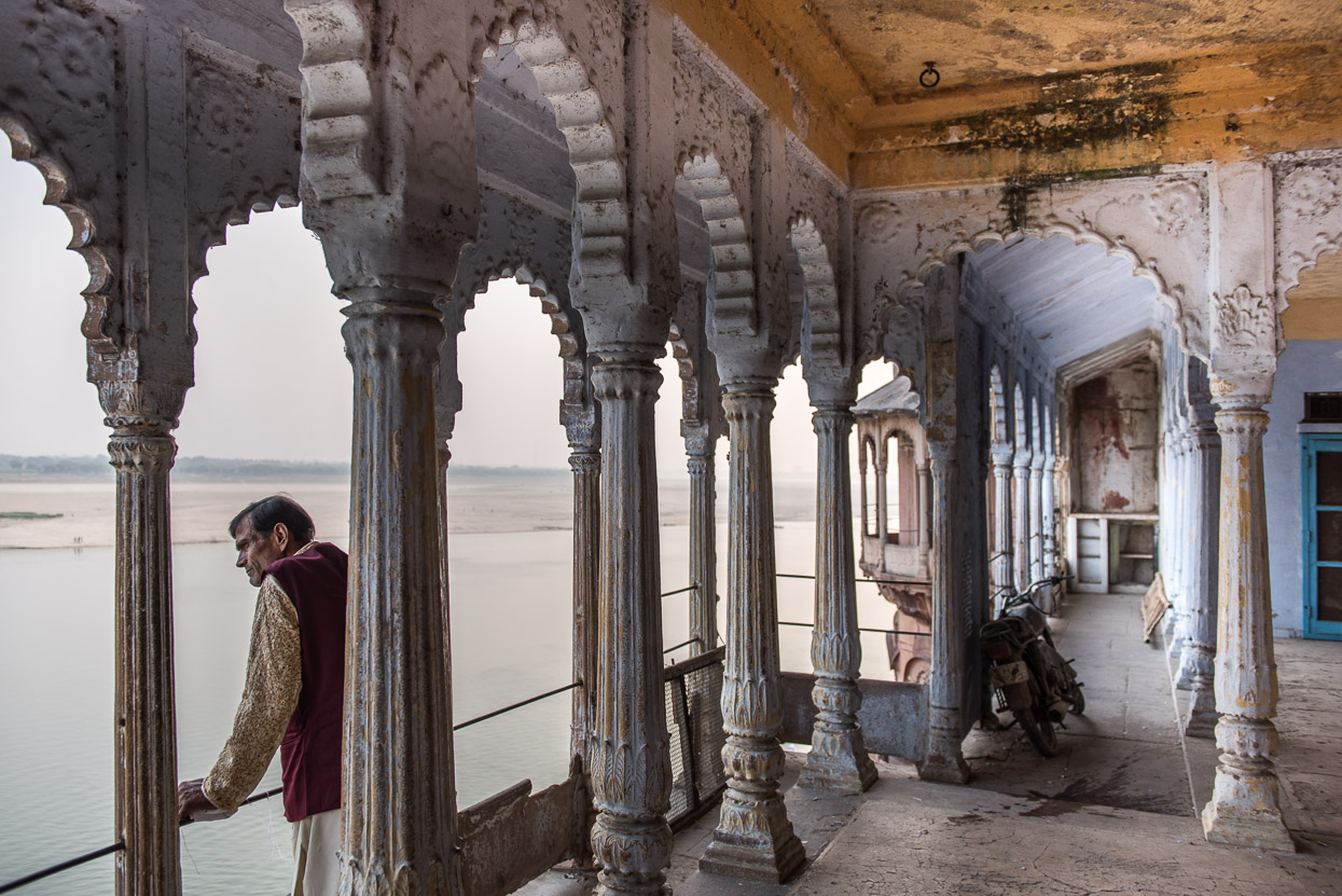 Palace above Ganges in Varanasi India